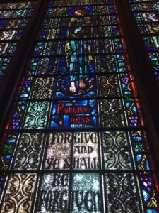 image of stained glass window from Clinton's childhood church in Park Ridge, IL