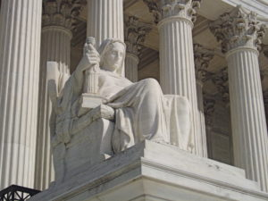 """image of statue """"contemplation of justice"""""""
