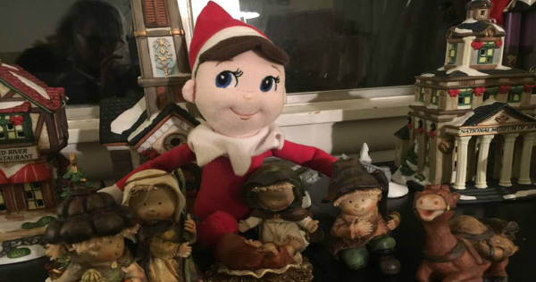 image of elf on shelf by nativity