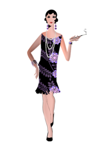 image of flapper holding cigarette - illustration with purple and black hues