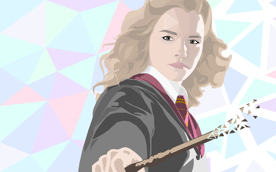 Artistic representation of Hermione Granger wielding a wand