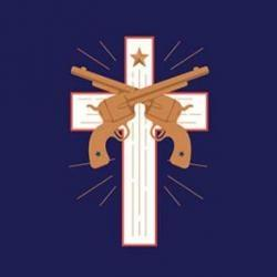 image of cross with two guns - the image on book cover for Jesus and John Wayne
