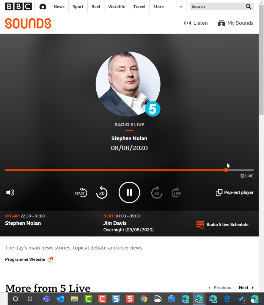 screenshot of bbc 5 live with stephen nolan