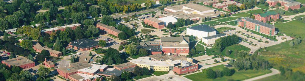 aerial photograph of dordt university campus