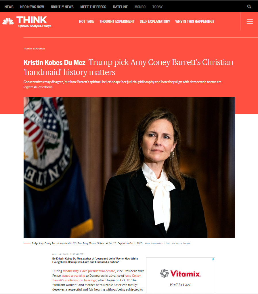 Screenshot of NBCnews.com opinion piece with Judge Amy Coney Barrett in front of blue flag.