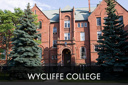 image of wycliffe college; brick building with name on front