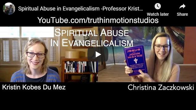 screencapture of youtube channel for truth in motion with picture of christina zaczkowski holding up the book jesus and john wayne. kristin dumez on left of screen.