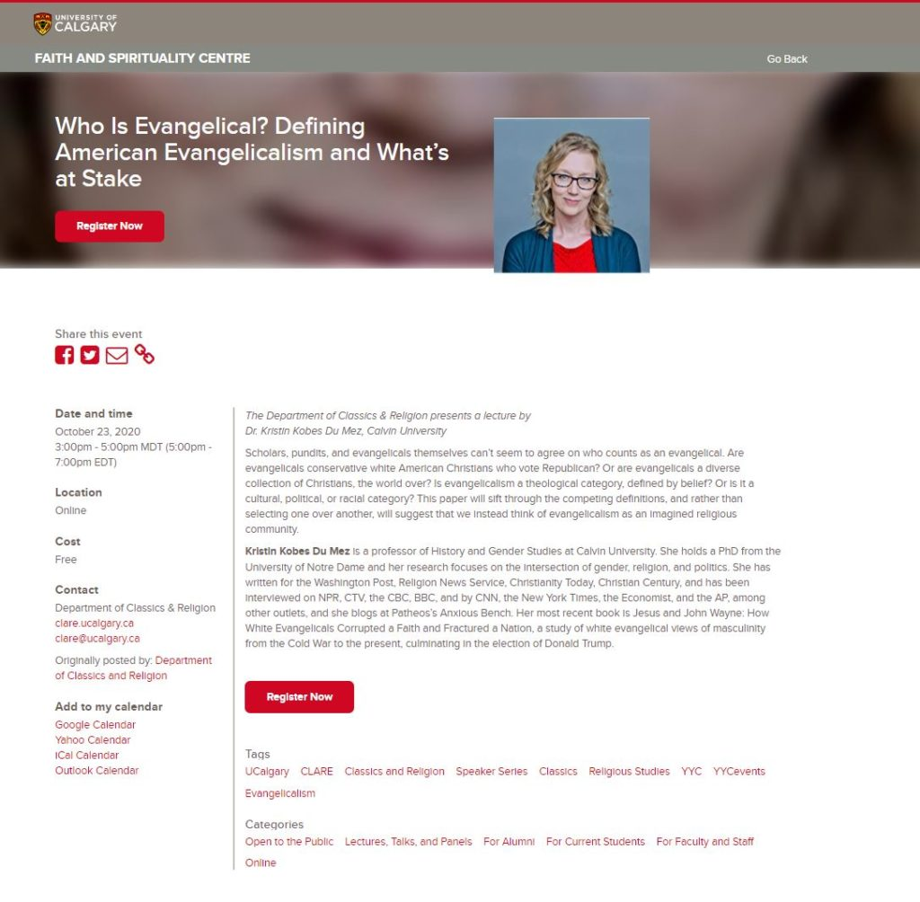 image of speaking and registration engagement page from university of calgary for kristin kobes du mez october 23 2020