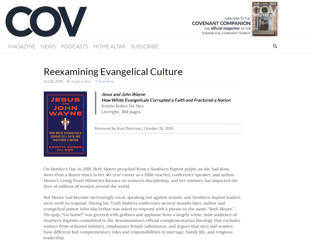 image of covenant companion book review of jesus of john wanye
