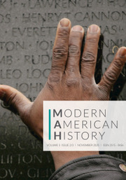 modern American history journal cover hand on engraved words
