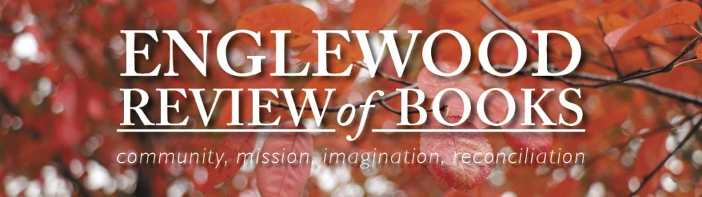 banner for englewood review of books white letters on red leaves - fall
