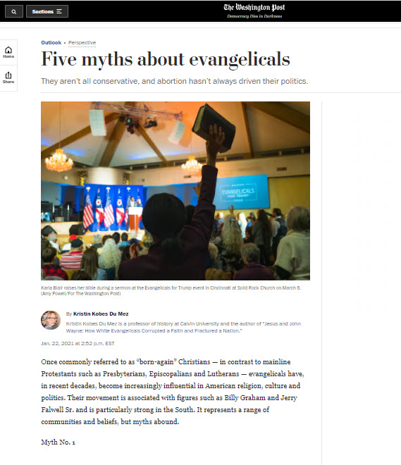 screencapture of washington post story with person holding up a bible during an evangelicals for trump rally