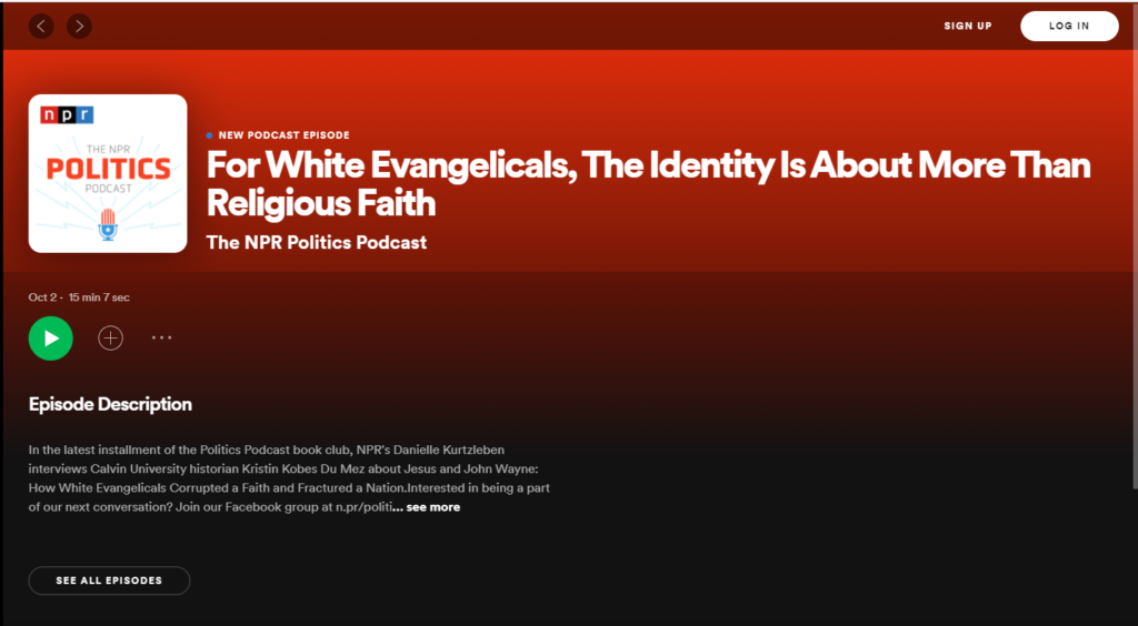 image of spotify title for NPR Politics Podcast, white text on red background