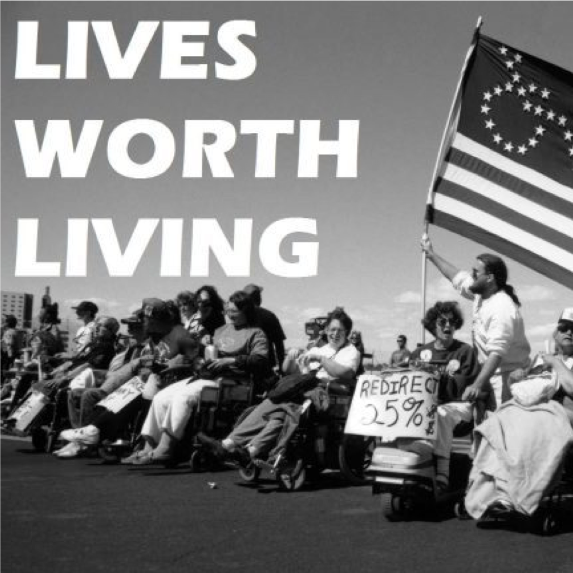 """black and white photo of """"Lives Worth Living"""" documentary showing disability rights advocates in the 1970s"""