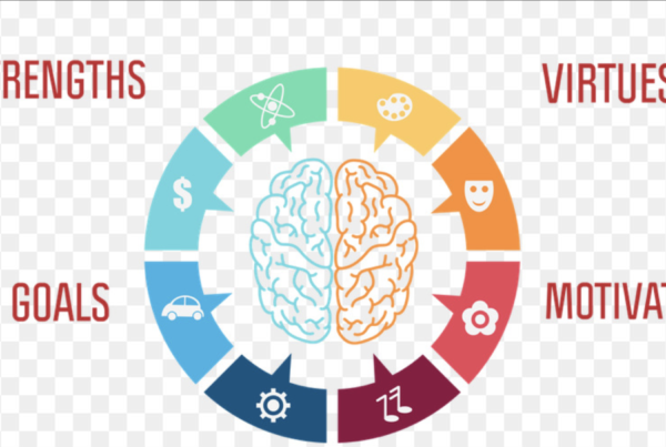 a graphic used by positive psychology incorporating strengths, goals, virtues, and motivation