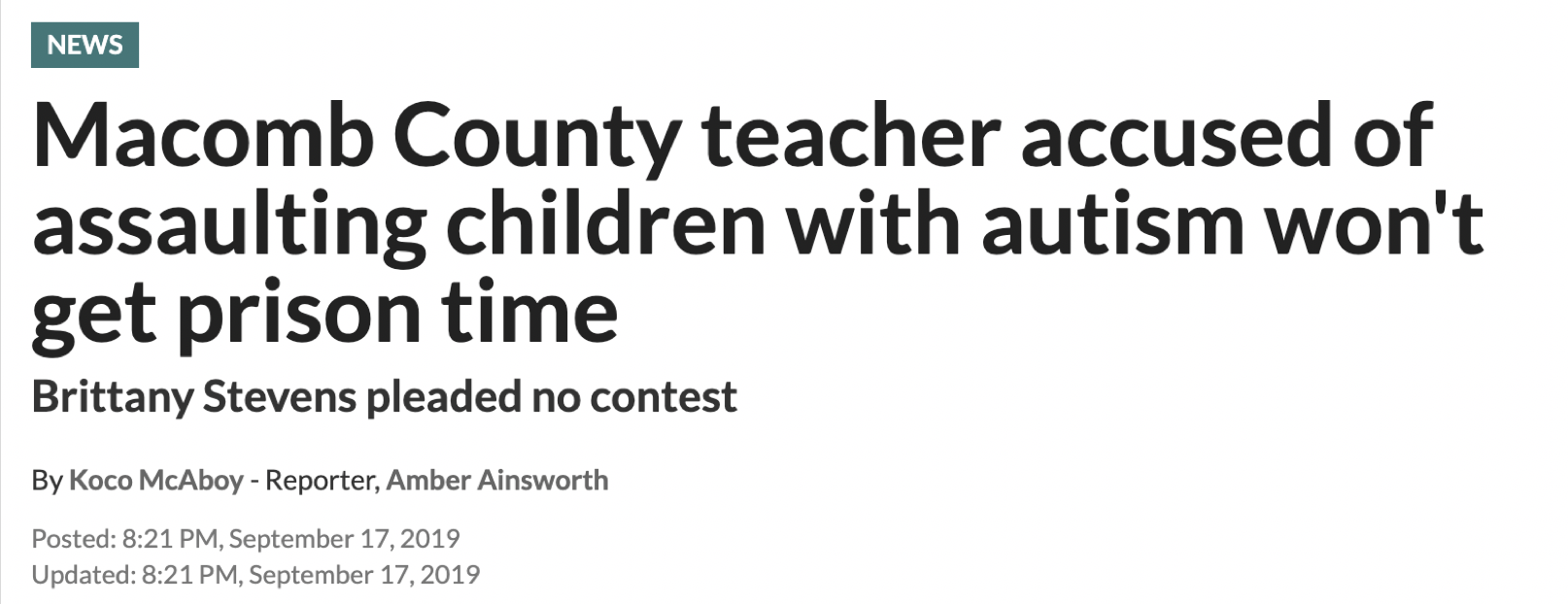 "News headline reading:  ""Macomb County teacher accused of assaulting children with autism won't get prison time"""